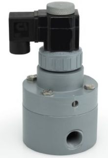 "Plast O Matic PS Series PVC Pilot Solenoid Valve, For Acids and Highly Corrosive Liquids, 2 Ways, Normally Closed, Viton Diaphragm, 5.2 Cv factor, 1/2"" NPT Female: Industrial & Scientific"