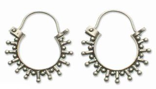 Sterling silver hoop earrings, 'Indonesia Star': Jewelry