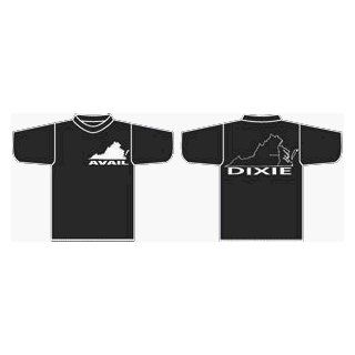 "Avail T Shirt   White Print on Black Shirt   Virgina Logo on Front with Richmond Location Noted and ""Dixie"" on Back, Sz. Small: Clothing"