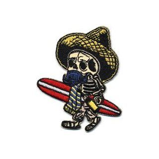 Artist Kruse El Borracho Surfer Skeleton Embroidered iron on Patch: Clothing