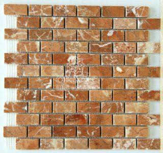 Rojo Alicante 1 X 2 Tumbled Marble Brick Mosaic Tiles   Stone Tiles