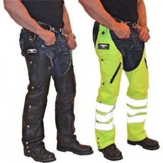 Missing Link G2 D.O.C. Reversible Chaps Men's Leather Harley Touring Motorcycle Pants   Black/Hi Viz / Small: Automotive