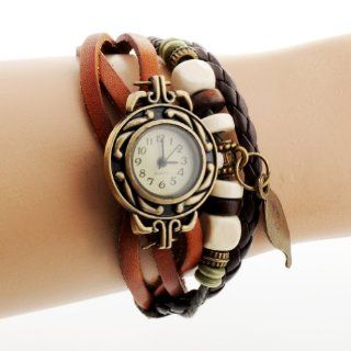 Uoften Quartz Fashion Weave Wrap Around Leather Bracelet Lady Woman Wrist Watch Leaf Pattern Light Coffee: Watches