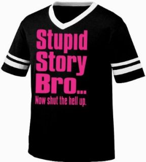 Stupid Story Bro, Now Shut The Hell Up. Funny Mens Ringer T shirt, Neon Pink Bold Funny Trendy Sayings Men's Ringer Shirt Clothing