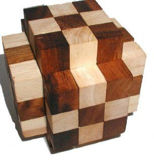 Muscle Cube Wood Brain Teaser Puzzle   2 Tone: Toys & Games