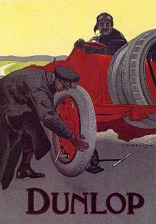 DUNLOP TIRES PNEUS OLD CAR LARGE VINTAGE POSTER REPRO   Prints