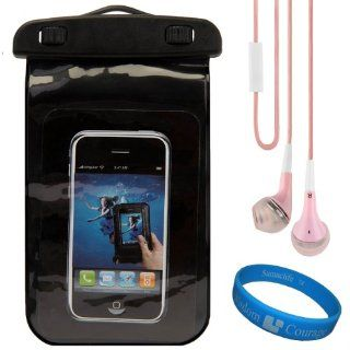 (Black) VG Waterproof & Grime Resistant Sleeve Cover for Alcatel One Touch Idol Ultra Android Smartphone + Pink VG Premium Stereo Headphones w/ Bass Enhancement Silicone Ear Tips + SumacLife TM Wisdom Courage Wristband: Cell Phones & Accessories