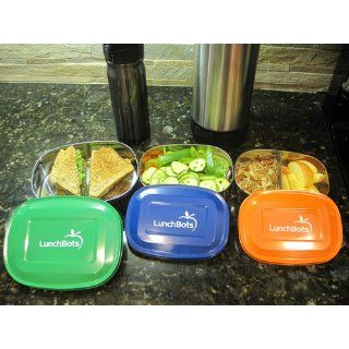 LunchBots Duo Stainless Steel Food Container, Orange Lunch Boxes Kitchen & Dining