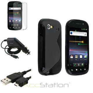 NEW YEAR !!! Bargain 2014 deal Black S Line TPU Skin Case+Clear Film+Cord+DC Charger For Samsung Google Nexus S PlEASE CHOOSE 1 COLOR: Cell Phones & Accessories
