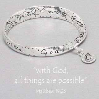 "Womens Silver Bracelet, ""With God All Things Are Possible"" Bible Verse, Matthew 19:26: Jewelry"