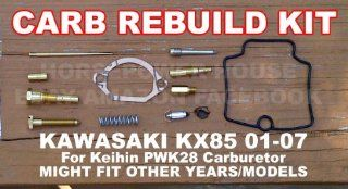 Carb Carburetor Rebuild Kit with Gasket Main Pilot Slow Jet Needle Idle Air Screw Spring and more for Keihin PWK28 28mm MX Carb fits Kawasaki KX85 01   07 and Possibly Other Brands and Models with Similar Carb