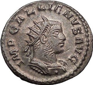 GALLIENUS 259AD Very Rare Silvered Ancient Roman Coin Victory over Germans : Everything Else