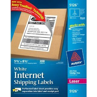 Avery Internet Shipping Labels for Laser Printers with TrueBlock Technology, 5.5 x 8.5 Inches, White, Box of 200 (05126) : Office Products