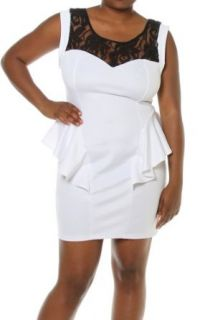 Plus Size Women Floral Lace Shoulder Cap Sleeve Sexy Peplum Dress White 1X at  Women�s Clothing store