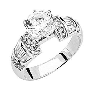 14K White Gold Solitaire Round CZ Cubic Zirconia High Polish Finish Ladies Wedding Engagement Ring Band with Round & Baguette Side Stone: Jewelry