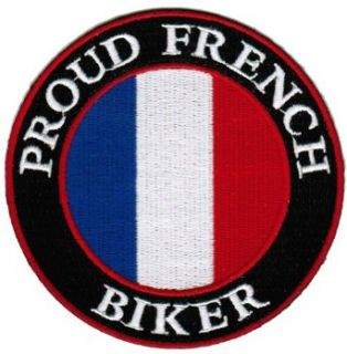 Proud French Biker Embroidered Patch France Flag Iron On Motorcycle Emblem: Apparel Accessories: Clothing