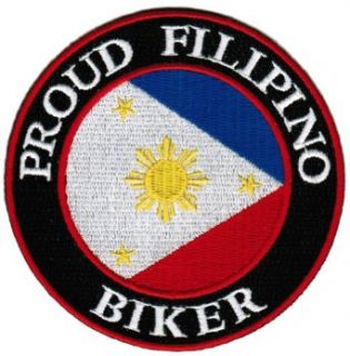 Proud Filipino Biker Embroidered Patch Philippines Flag Pinoy Iron On Motorcycle: Clothing