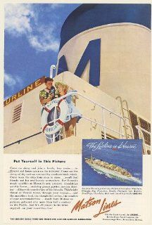 1953 Matson Lines SS Lurline Cruise Ship to Hawaii Put Yourself Picture Print Ad (Memorabilia) (55786)