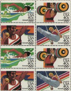 1984 SUMMER OLYMPICS '84 ~ LOS ANGELES ~ SWIMMING ~ WEIGHT LIFTING ~ SHOT PUT ~ GYMNASTICS ~ AIRMAIL #C108a Block of 8 x 40� US Postage Stamps : Collectible Postage Stamps : Everything Else