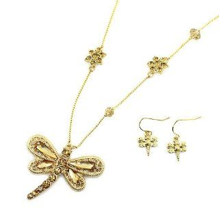 "Dragonfly Pendant Necklace Set; 18""L; Gold Tone Metal; Gold Tone Rhinestones; Lobster Clasp Closure; Matching Earrings Included; Jewelry"