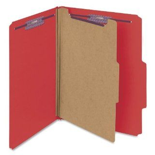 Smead 13731   Pressboard Classification Folders, Letter, Four Section, Bright Red, 10/Box SMD13731: Computers & Accessories