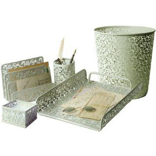 5 PIECE ART DECO ROSE FLORAL LACE DESIGNED METAL OFFICE SET   UPRIGHT LETTER / FILE HOLDER, MEMO TRAY, PEN HOLDER, FLAT LETTER TRAY, & WASTEBASKET   FRENCH WHITE COLOR : Other Products : Everything Else