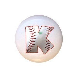 Baseball Alphabet Letter K Drawer Pull Knob   Cabinet And Furniture Knobs