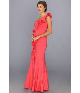 Jessica Simpson One Shoulder Ruffle Gown Hot Coral