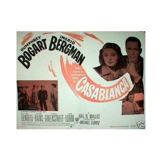 Casablanca Poster Orig 1956 humphrey Bogart and Ingrid Bergman. Original Movie Poster, 22x28 Inches. Poster Is Folded (Normal for These Posters) in Near mint Condition, From the 1956 Re release of the Film More Than 50 Years Ago. Quite Rare, Scarce.: Fred