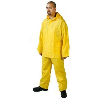 Diamond 1020 PVC Industrial Waterproof/Chemical Resistant Medium Weight 3 Piece Rain Suit, 4X Large, Yellow: Protective Chemical Splash Apparel: Industrial & Scientific