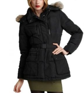 Andrew Marc NY Speed Down Puffer Coat Hooded Real Fur Trimmed  Black Medium at  Women�s Clothing store