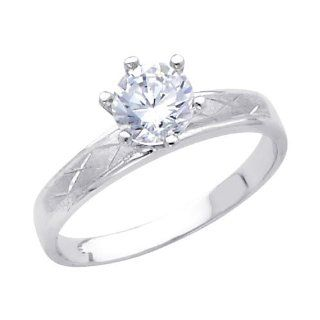 14K White Gold High Polish Finish Round cut Top Quality Shines CZ Cubic Zirconia Ladies Wedding Engagement Ring Band: Engagement Rings For Women: Jewelry