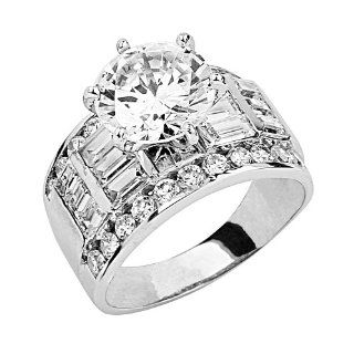 14K White Gold Solitaire CZ Cubic Zirconia High Polish Finish Ladies Wedding Engagement Ring Band with Baguette & Round Side Stone: Tri Color Rings Cz: Jewelry