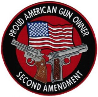 Proud American Gun Owner Second Amendment Embroidered Patch Large 1911 Handgun: Clothing