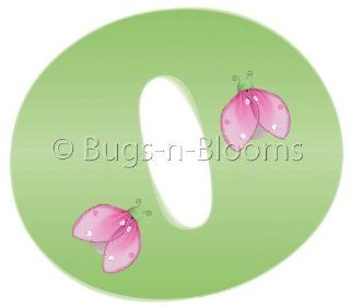 """""""o"""" Green Pink Ladybug Alphabet Letter Name Wall Sticker   Decal Letters for Children's, Nursery & Baby's Room Decor, Baby Name Wall Letters, Girls Bedroom Wall Letter Decorations, Child's Names. Ladybugs Lady Bug Mural Walls Deca"""