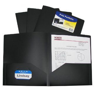 C Line Two Pocket Heavyweight Poly Portfolio, For Letter Size Papers, Includes Business Card Slot, 1 Display Case of 25 Portfolios, Black (33951) : Portfolio Ring Binders : Office Products