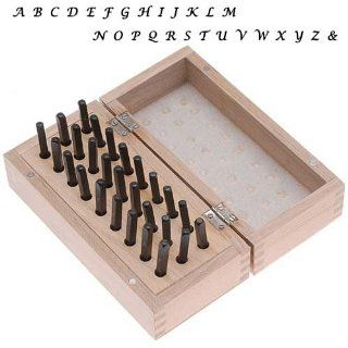 27 Pc Uppercase Lucida Calligraphy Alphabet Letter Punch Set For Stamping Metal In Wood Box 1/8 Inch 3mm