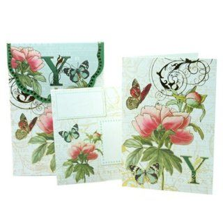 Punch Studio Floral Monogram Pouch Note Cards  #56976Y (Letter Y): Health & Personal Care