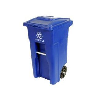 Toter 025532 R1BLU Residential Heavy Duty 2 Wheeled Recycling Container Cart with Attached Lid, 32 Gallon, Blue   Work Gloves