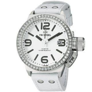 TW Steel Canteen White Leather Strap Swarovski Crystal Women's Watch   TW35 TW Steel Watches