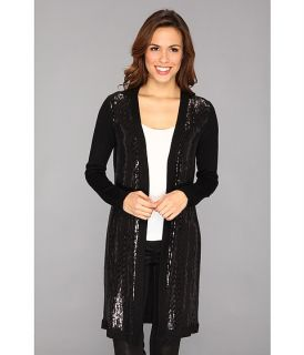 Calvin Klein Three Quarter Sleeve Sequin Front Cardi M3JSB784 Black