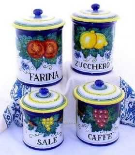 MAJOLICA FRUTTA Canister set Farina, Zucchero, Caffe', Sale (Flour, Sugar, Coffee, Salt) (Set of four) [#1245 FRM]   Kitchen Storage And Organization Product Sets