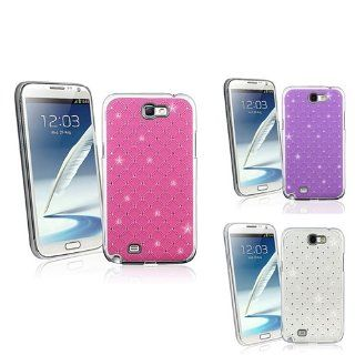 eForCity 3 packs Spot Diamond Rear Snap on Cases   Hot Pink / Purple / White Compatible with Samsung© Galaxy Note II N7100: Cell Phones & Accessories