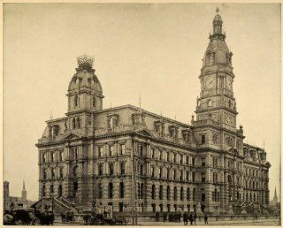 1899 Print Court House Louisville Kentucky Architecture Famous Historic Landmark   Original Halftone Print