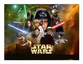 1/4 Sheet ~ Star Wars Collage Birthday ~ Edible Image Cake/Cupcake Topper!!! : Dessert Decorating Cake Toppers : Grocery & Gourmet Food