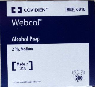 Kendall/Covidien Alcohol Prep Pads   #6818   1/Box of 200: Health & Personal Care