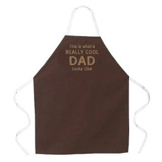 Attitude Apron Really Cool Dad Apron, Brown, One Size Fits Most   Kitchen Aprons