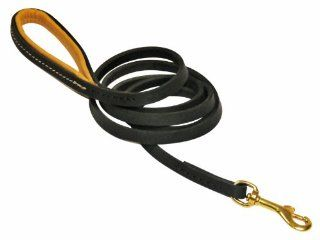 Dean & Tyler Soft Touch Leather Dog Leash with Brown Padded Handle and Solid Brass Snap Hook, 6 Feet by 1/2 Inch, Black : Pet Leashes : Pet Supplies
