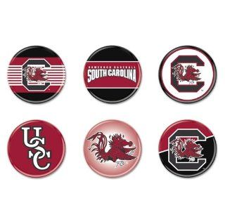 """South Carolina Gamecocks Official NCAA 1.75"""" Button Set 6 Pack : Sports Related Pins : Sports & Outdoors"""