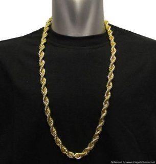 "18K Gold Plated, RUN DMC HIP HOP Rope Chain, 8mm X 30"" Dookie Chain, Stainless Steel Core   HIGH QUALITY: Jewelry"